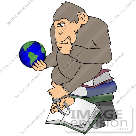 "#32071 Clip Art Graphic of a Cartoon Parody of Rheinhold's ""Philosophizing Monkey"" Showing a Chimpanzee Holding a Globe and Sitting on Books by DJArt"