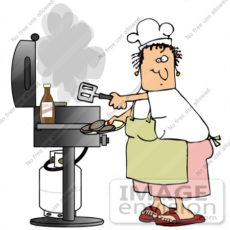 #32073 Clip Art Graphic of a Caucasian Woman in an Apron and Chef's Hat Cooking Burgers on a Gas Grill by DJArt