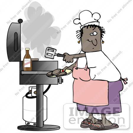 #32077 Clip Art Graphic of an African American Woman Cooking Hamburgers On A Gas Grill While Wearing An Apron And Chefs Hat by DJArt