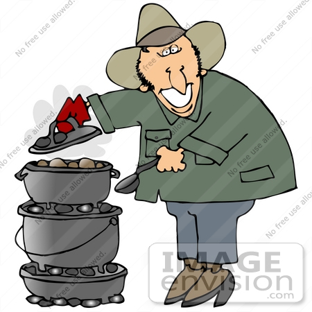 32100 Clip Art Graphic Of A Happy Caucasian Guy Cooking Food On Dutch Oven