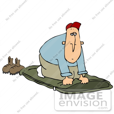 #32101 Clip Art Graphic of a Caucasian Man Laying Down His Sleeping Bag And