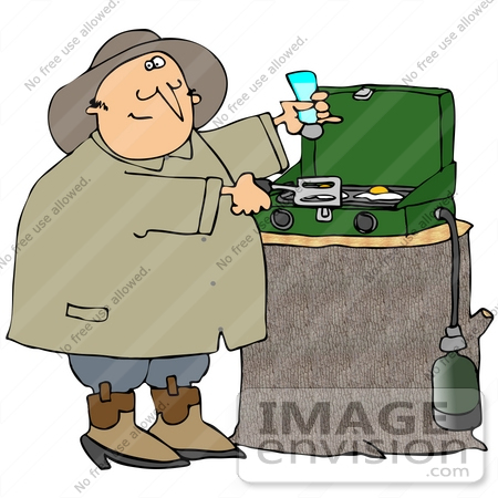 #32102 Clip Art Graphic of a Chubby Man Salting His Eggs While Cooking On A Propane Camping Stove by DJArt