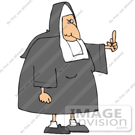 #32105 Clip Art Graphic of an Angered Old Nun Flipping The Bird At Someone Who Made Her Mad by DJArt