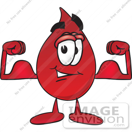 #33375 Clip Art Graphic of a Transfusion Blood Droplet Mascot Cartoon Character Flexing His Arm Muscles by toons4biz