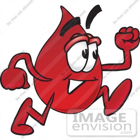 #33377 Clip Art Graphic of a Transfusion Blood Droplet Mascot Cartoon Character Running by toons4biz