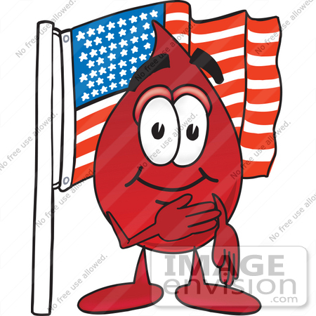 #33379 Clip Art Graphic of a Transfusion Blood Droplet Mascot Cartoon Character Pledging Allegiance to an American Flag by toons4biz