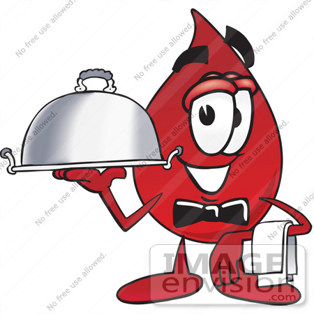 #33382 Clip Art Graphic of a Transfusion Blood Droplet Mascot Cartoon Character Dressed as a Waiter and Holding a Serving Platter by toons4biz
