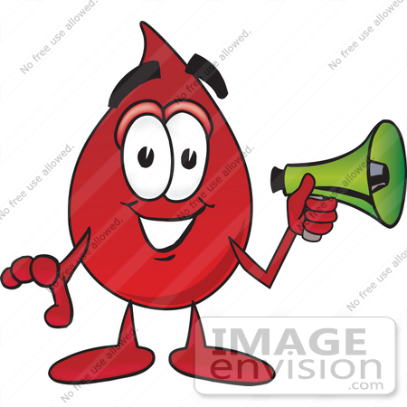 #33390 Clip Art Graphic of a Transfusion Blood Droplet Mascot Cartoon Character Holding a Megaphone by toons4biz