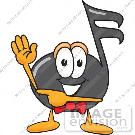 Clip art graphic of a semiquaver music note mascot cartoon character