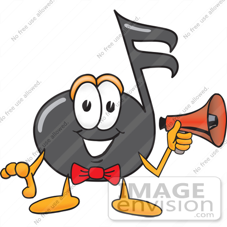 #33392 Clip Art Graphic of a Semiquaver Music Note Mascot Cartoon Character Holding a Megaphone by toons4biz