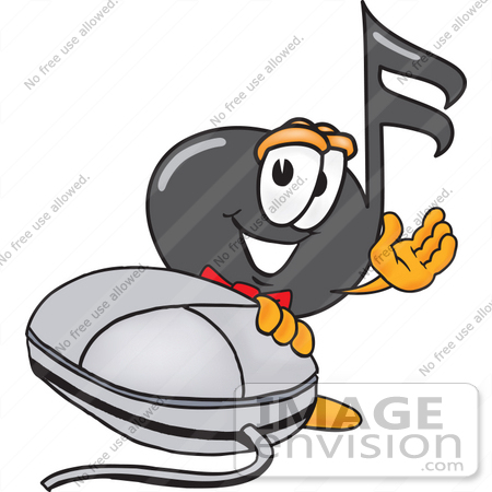 #33394 Clip Art Graphic of a Semiquaver Music Note Mascot Cartoon Character With a Computer Mouse by toons4biz