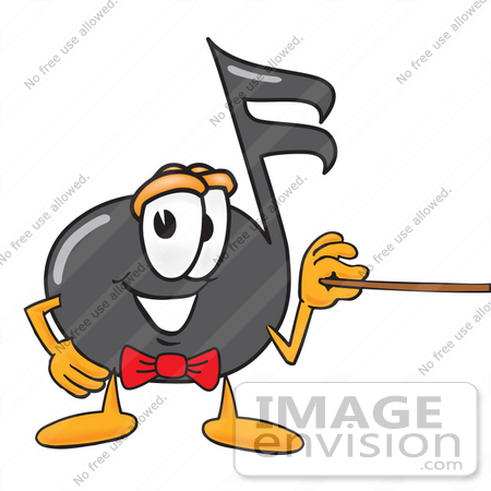 #33397 Clip Art Graphic of a Semiquaver Music Note Mascot Cartoon Character Holding a Pointer Stick by toons4biz