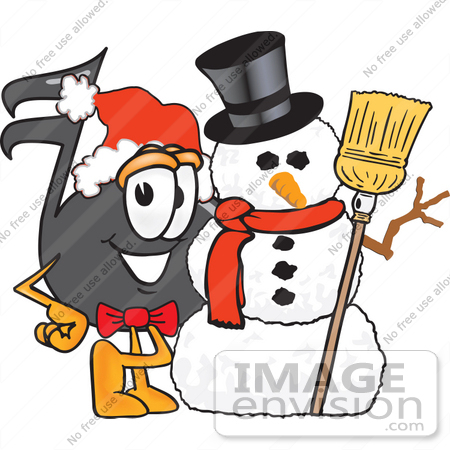#33399 Clip Art Graphic of a Semiquaver Music Note Mascot Cartoon Character With a Snowman on Christmas by toons4biz
