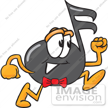 #33403 Clip Art Graphic of a Semiquaver Music Note Mascot Cartoon Character Running by toons4biz