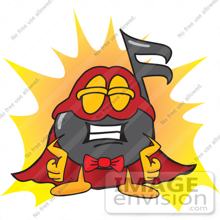 #33406 Clip Art Graphic of a Semiquaver Music Note Mascot Cartoon Character Dressed as a Super Hero by toons4biz