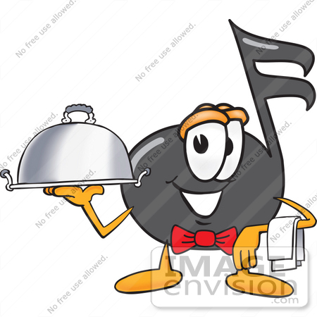 #33407 Clip Art Graphic of a Semiquaver Music Note Mascot Cartoon Character Dressed as a Waiter and Holding a Serving Platter by toons4biz
