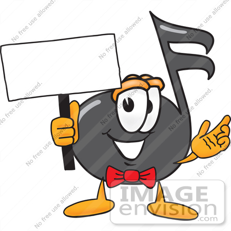 #33410 Clip Art Graphic of a Semiquaver Music Note Mascot Cartoon Character Holding a Blank Sign by toons4biz