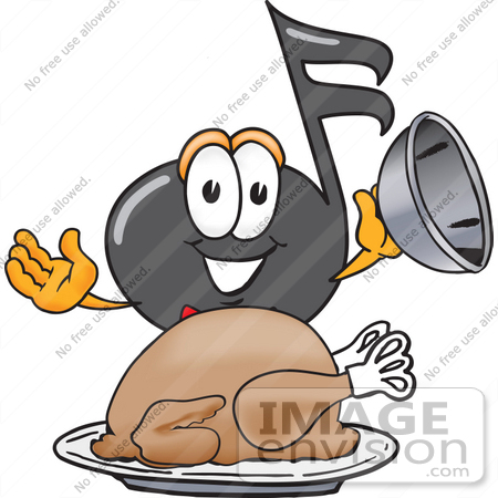 #33417 Clip Art Graphic of a Semiquaver Music Note Mascot Cartoon Character Serving a Thanksgiving Turkey on a Platter by toons4biz