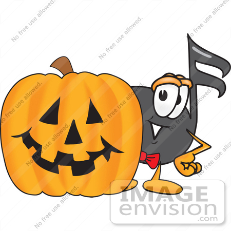 #33420 Clip Art Graphic of a Semiquaver Music Note Mascot Cartoon Character With a Carved Halloween Pumpkin by toons4biz