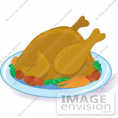 clipart of a hot cooked turkey bird on a platter with potatoes and rh imageenvision com Thanksgiving Turkey Dinner christmas turkey dinner clipart