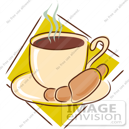 #33433 Clipart of a Warm Croissant On A Saucer With A Steamy Cup Of Hot Coffee by Maria Bell