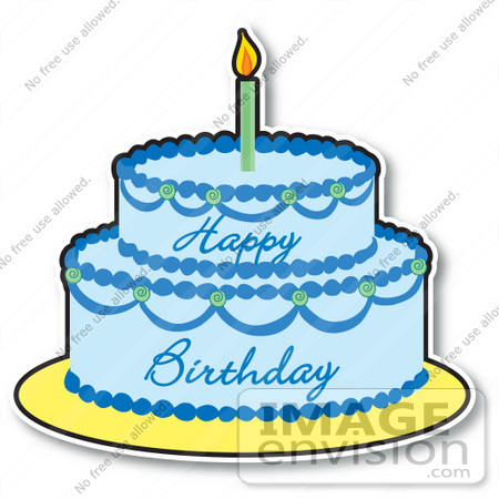#33438 Clipart of a Blue Boy's Birthday Cake With Two Layers And One Candle On Top by Maria Bell