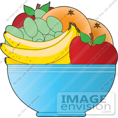 #33445 Clipart of a Fruit Bowl With Apples, Oranges, Green Grapes And Bananas On A Kitchen Counter by Maria Bell
