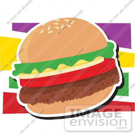 #33452 Clipart of a Veggie Hamburger With A Thick Fake Beef Patty, Tomatoes, Onions And Lettuce by Maria Bell