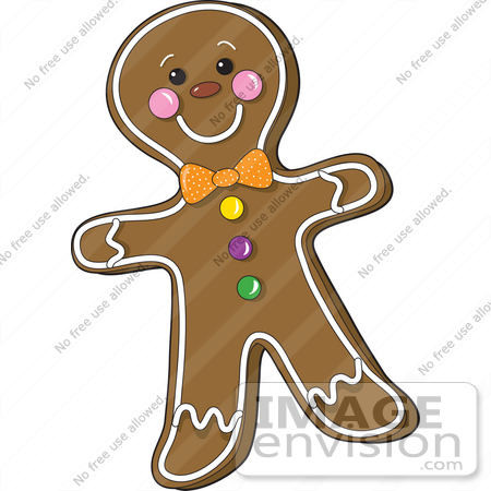 #33454 Clipart of a Smiling Gingerbread Man With Frosted Accents, A Bow And Candies by Maria Bell