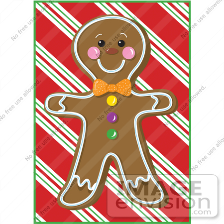 33463 Clipart Of A Cute Gingerbread Man Cookie On Christmas Background By Maria Bell