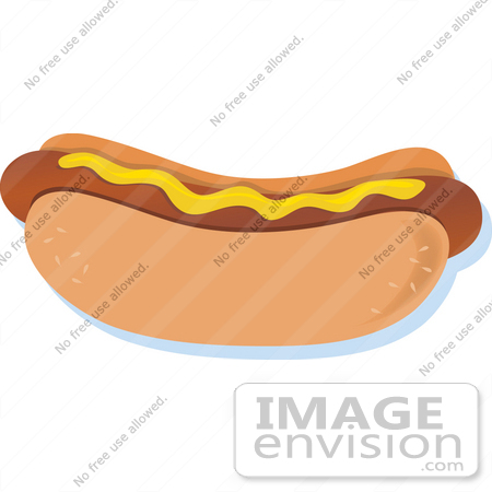 #33468 Clipart of a Tasty Hot Dog Topped Only With Mustard by Maria Bell
