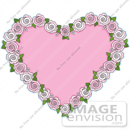 #33471 Clipart Of A Pretty Pink Heart Bordered With Pale Pink Roses by Maria Bell