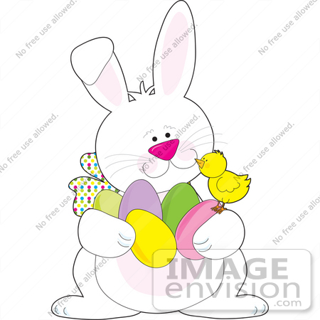 #33474 Clipart Of A Friendly Easter Bunny Chatting With A Baby Chick While Hiding Easter Eggs by Maria Bell