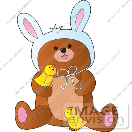 #33478 Clipart Of A Cute Little Bear Wearing Bunny Ears On Easter And Playing With Yellow Chicks by Maria Bell
