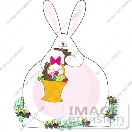 #33479 Clipart Of An Obese Easter Bunny Pigging Out On Chocolate Candies From An Easter Basket by Maria Bell