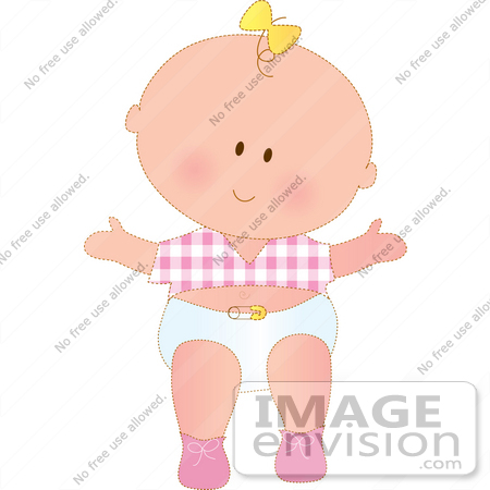 #33481 Clipart Of A Happy Baby Girl In A Diaper, Pink Shoes And A Pink Checkered Shirt, A Yellow Bow In Her Hair by Maria Bell