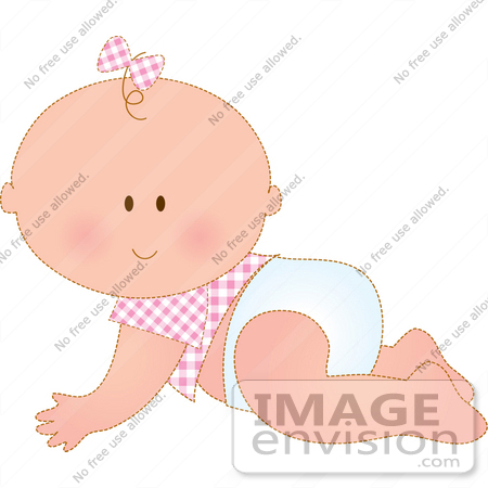 #33487 Clipart Of A Cute Baby Girl In Pink, A Bow On Her One Strand Of Hair, Crawling Across The Floor In A Diaper by Maria Bell