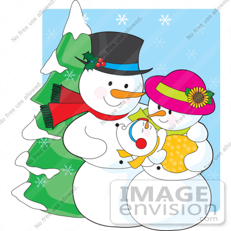 #33496 Christmas Clipart Of A Proud Snowman Father Adoring His Newborn Baby While His Wife Cradles It by Maria Bell