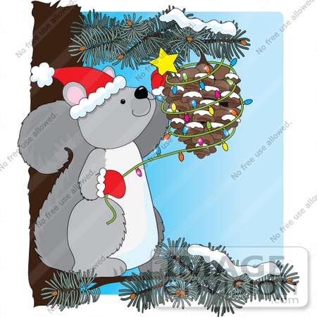 33500 christmas clipart of a festive gray squirrel in a pine tree decorating a cone