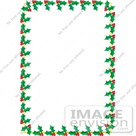 #33503 Christmas Clipart Of A Stationery Border Of Green Holly Leaves And Red Berry Clusters by Maria Bell