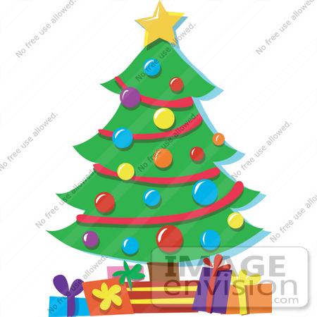 33506 christmas clipart of a star on top of a christmas tree decorated in baubles - A Christmas Tree