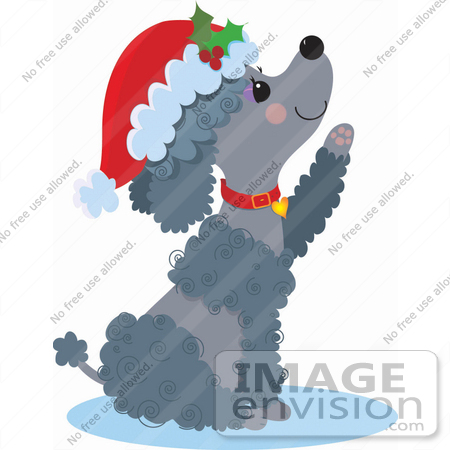 #33510 Christmas Clipart Of A Cute Poodle Puppy Lifting Her Paw And Wearing A Santa Hat by Maria Bell