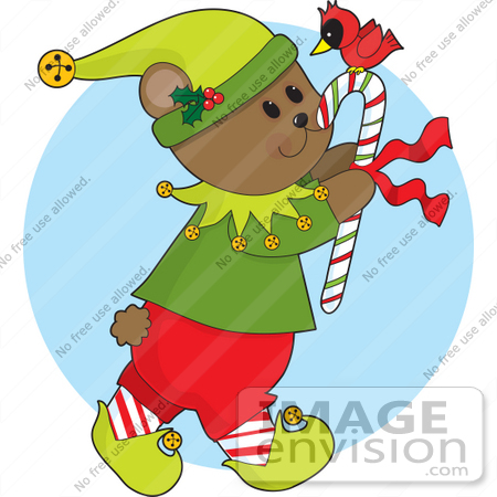 #33516 Christmas Clipart Of A Gentle Bear Elf Carrying A Red Cardinal Bird On Top Of A Candy Cane by Maria Bell