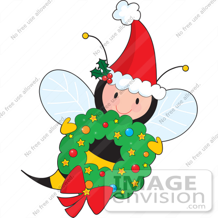 #33517 Christmas Clipart Of A Jolly Christmas Bee Wearing A Santa Hat And Carrying A Wreath by Maria Bell