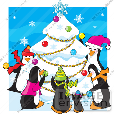 33518 christmas clipart of a family of penguins having a party and decorating a snow