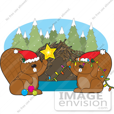 33519 Christmas Clipart Of A Beaver Family Wearing Santa Hats And Decorating Their Dam For