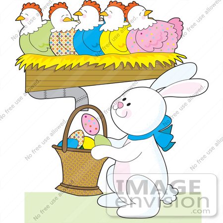 real easter bunnies and eggs. #33521 Clipart of an Easter