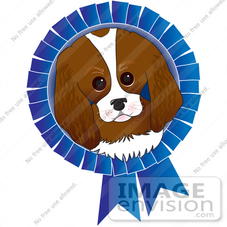 #33528 Clip Art Graphic of a Dog Show Winning King Charles Spaniel Puppy In The Center Of A Blue Ribbon by Maria Bell