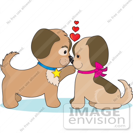 #33532 Clip Art Graphic of a Romantic Dog Couple In Puppy Love, Gazing Into Eachothers Eyes by Maria Bell