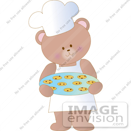 #33536 Clipart of a Chef Bear Wearing A Chefs Hat And Apron, Carrying Warm Chocolate Chip Cookies In A Bakery by Maria Bell